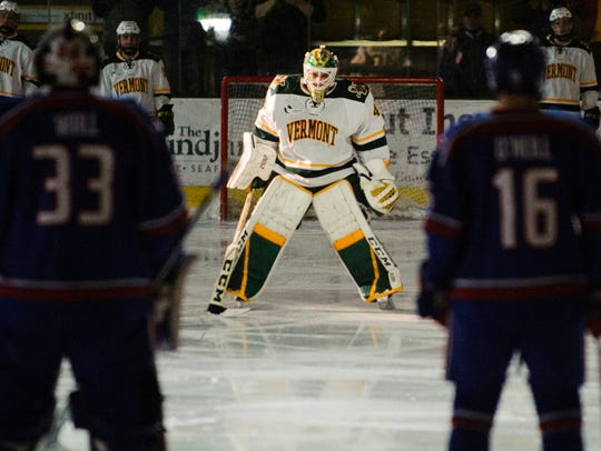 Vermont goalie Stefanos Lekkas (40) during player introductions