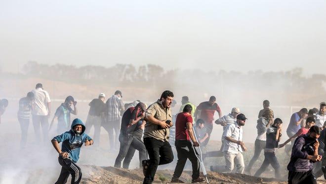 Palestinian protesters in Gaza City, near the Israeli border, on June 22, 2018.