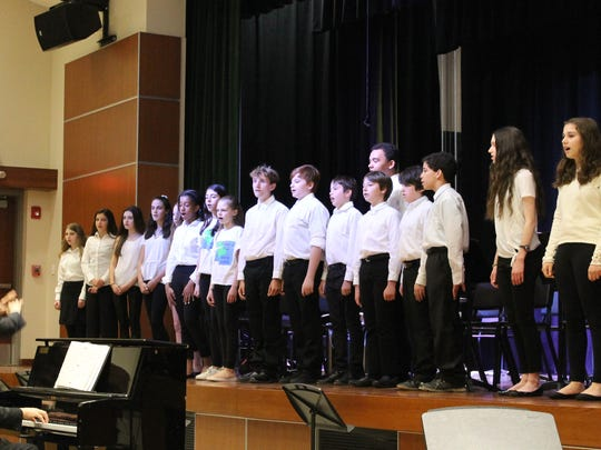 """Members of the cast of """"The Sound of Music"""" at Edison Intermediate School perform at an open house held on April 11 to thank the community for its support of the renovated auditorium."""