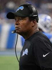 Lions coach Jim Caldwell watches an exhibition game