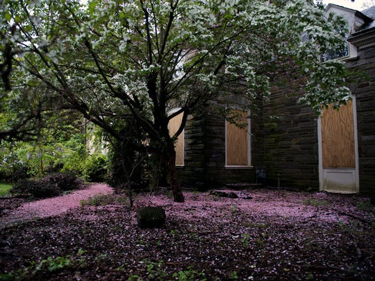 Pink petals cover a walkway leading to the Snell house