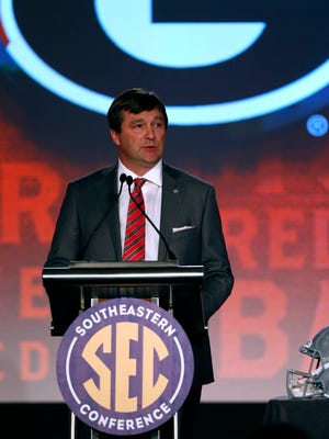 Jul 12, 2016; Hoover, AL, USA; Georgia head coach Kirby Smart speaks to the media during SEC media day at Hyatt Regency Birmingham-The Wynfrey Hotel. Mandatory Credit: Butch Dill-USA TODAY Sports