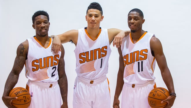 With Phoenix Suns guard Eric Bledsoe (2)  guard Devin Booker (1) and guard Brandon Knight (11), the team hopes to focus on the efficiency of its offense.