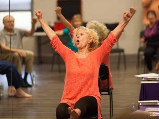 Marghi McClearn teaches a body movement class at TMH Memory Care Disorder Clnic.