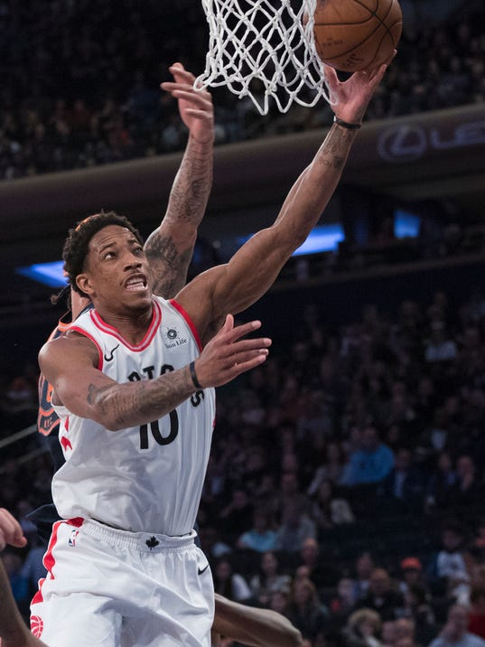 Toronto Raptors guard DeMar DeRozan goes to the basket during the first half of an NBA basketball game against the New York Knicks, Sunday, March 11, 2018, at Madison Square Garden in New York. (AP Photo/Mary Altaffer)