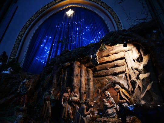 The carved wood nativity scene at the Cathedral of