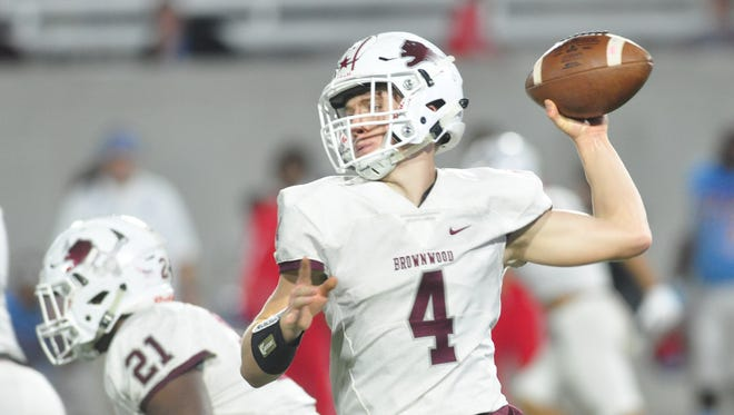 Brownwood quarterback Tommy Bowden throws a pass during the Lions' 44-34 loss to Wichita Falls Hirschi in a Region I-4A bi-district playoff game in 2017.