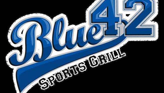 A logo for Blue 42 Sports Grill