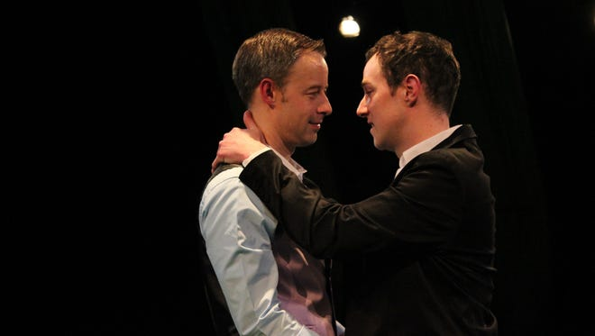 A surprise dilemma threatens the longtime relationship of John (Jordan Jepson), right, and a man named M (Jason Bohon) in StageWest's current play at the Des Moines Social Club.