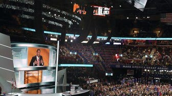 """Scene during Chris Christie's speech at the RNC last month in Cleveland. """"Is she guilty or not guilty?"""" Christie asked periodically during the speech after each allegation of a Hillary Clinton misdeed. """"Guilty!"""" the audience answered each time, with chants of """"Lock her up!"""" also common. (file photo)"""