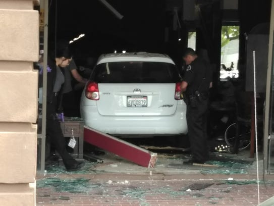 A driver went through the entrance of Serran's Furniture
