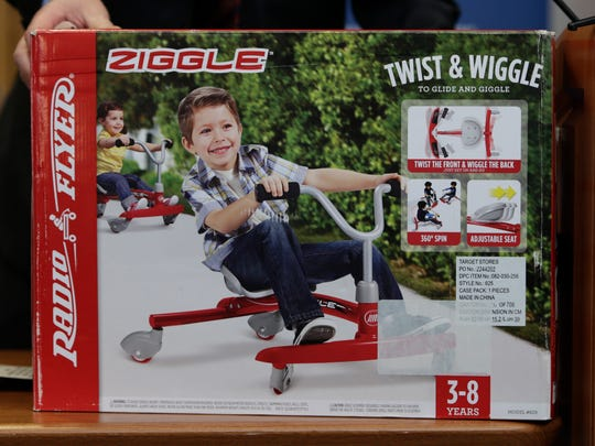 "Radio Flyer ""Ziggle"" made the annual list of worst toys, at Franciscan Hospital for Children in Boston. The consumer watchdog group has released its annual list of what it considers to be the 10 most unsafe toys as the holiday season approaches."