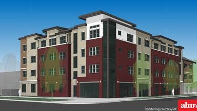 A rendering of College Eight Thirty at the corner of College Avenue and Locust Street.