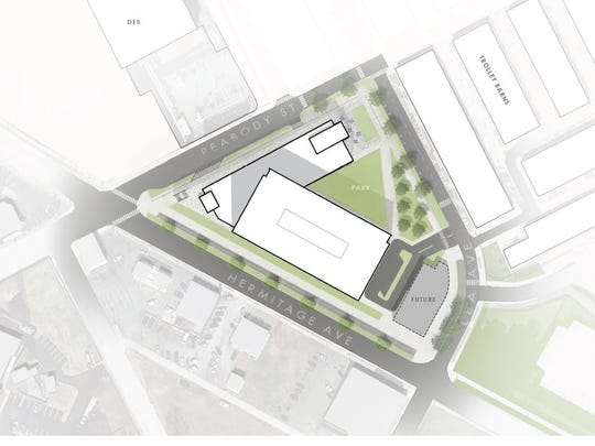 A site plan showing the nine-story project Eakin Partners plan for Rolling Mill Hill.