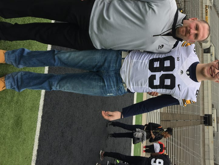 Bay Port's Jack Plumb, right, with Iowa offensive line