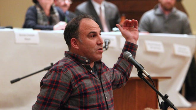 South Nyack resident Jeff Hirsch speaks during a village board meeting regarding the shared pedestrian and bike path that will be part of the new Tappan Zee Bridge. The meeting was held at Living Christ Church in South Nyack Feb. 24, 2015.