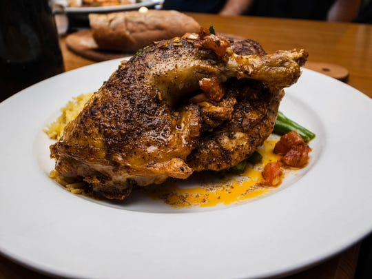 At Umberto's Blaze Bistro in Toms River, chicken is stuffed with cornbread and sausage.