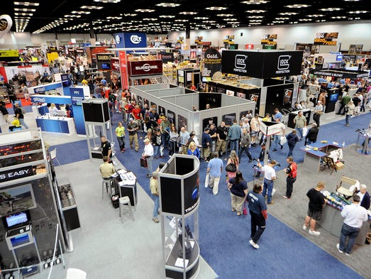 A view from on top of the Lone Wolf Distributors trailer of the exhibition floor during the final day of the 143rd annual NRA Convention, Sunday, April 27, 2014, in Indianapolis.