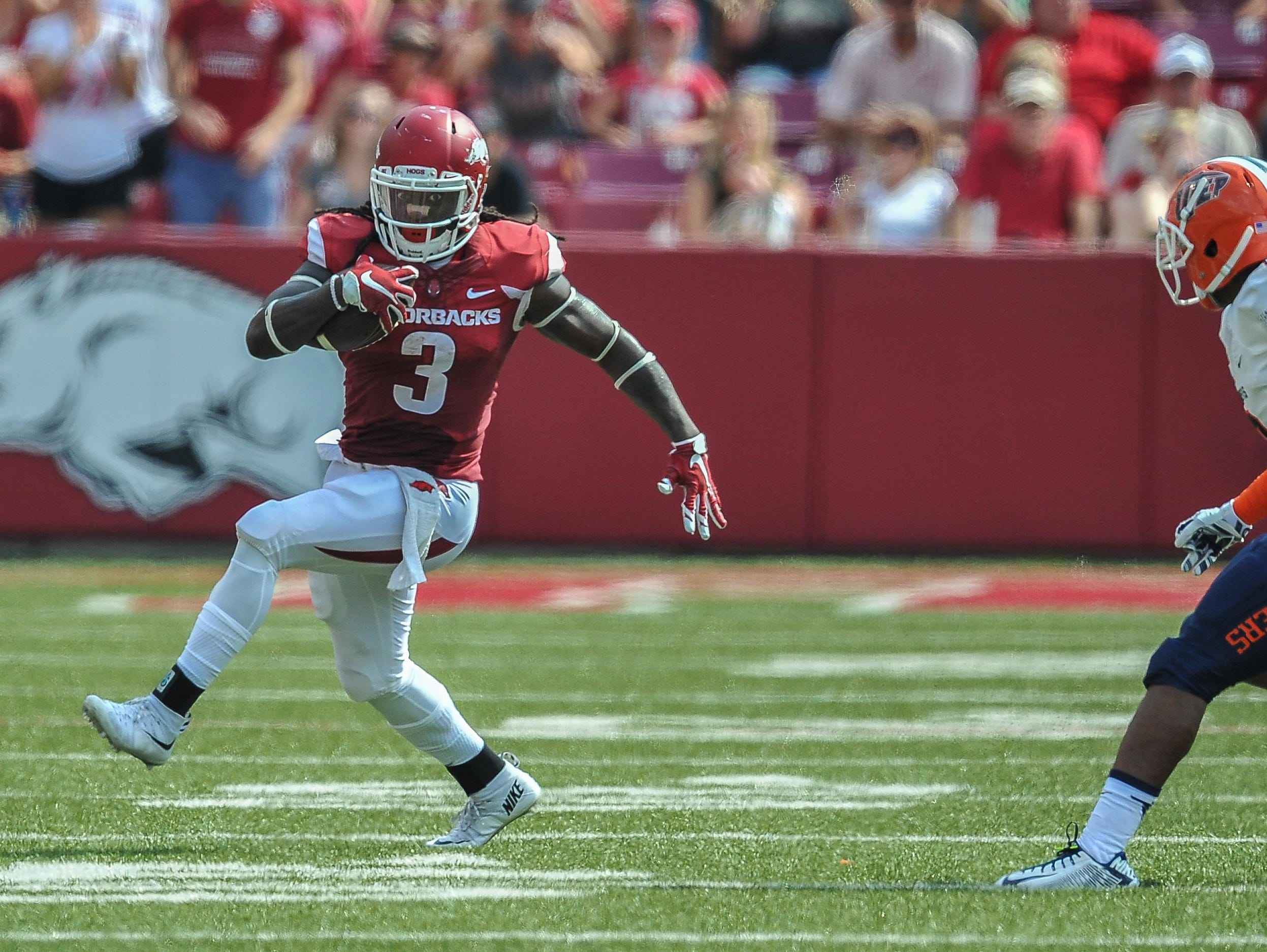 After rushing for 127 yards and a touchdown in Arkansas' 48-13 win over UTEP, junior running back Alex Collins was one of three Razorbacks named Offensive Player of the Game by head coach Bret Bielema.