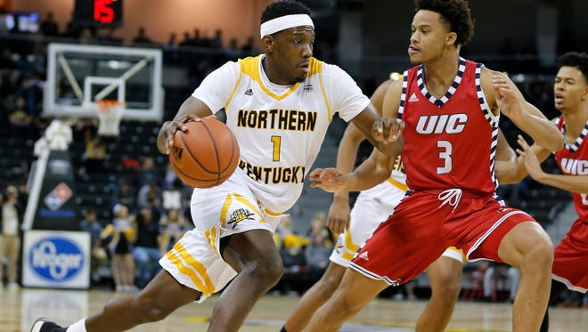 Northern Kentucky Norse forward Jordan Garnett (1) scored 7 points to help the Norse beat the Illinois-Chicago Flames 86-51 at BB&T Arena Saturday December 30, 2017.