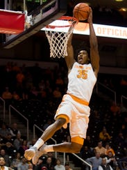 Tennessee forward Yves Pons dunks against Mercer on Nov. 29 at Thompson-Boling Arena.