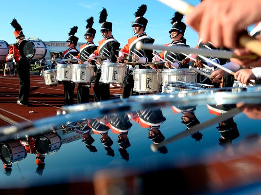 Central York drummers warm up before the first football game of the season between West York amd Central York on Friday. (Kate Penn — Daily Record/Sunday News)
