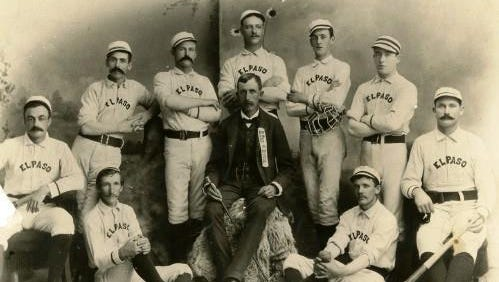 "Baseball manager Charles F. ""Give-A-Dam"" Jones, center, with his El Paso team. Jones managed the team from its creation in 1881 to 1904. During his tenure, it was known as the fastest team in the Southwest."