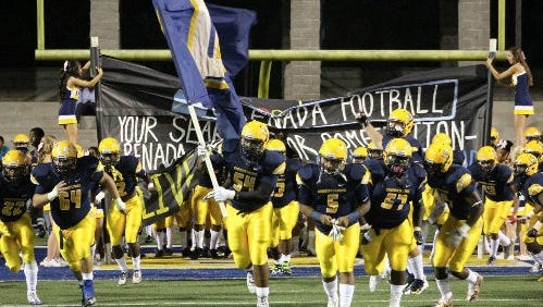 The Conquistadors take the field during the 2017 season.