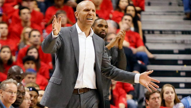 Jason Kidd reacts during a Brooklyn playoff game in May.