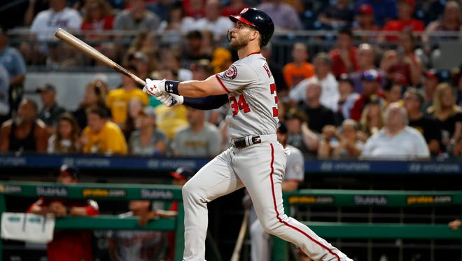 Washington Nationals' Bryce Harper will compete in the Home Run Derby on Monday.