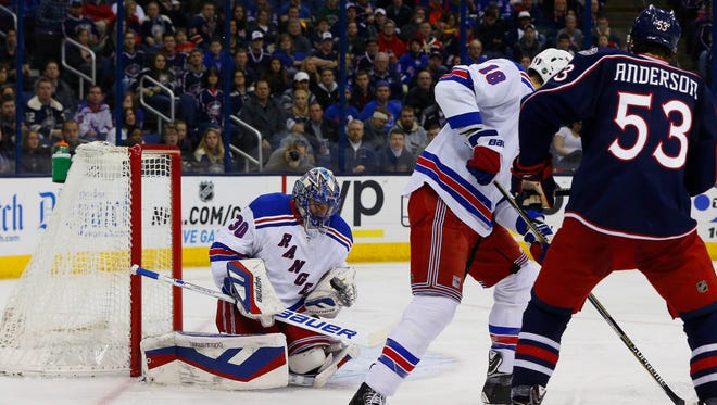 Rangers goalie Henrik Lundqvist came up big against Josh Anderson and the Blue Jackets on Friday night in Columbus.