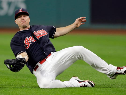 Cleveland Indians' Jay Bruce catches a ball hit by Boston Red Sox's Mookie Betts in the eighth inning of a baseball game, Tuesday, Aug. 22, 2017, in Cleveland. Betts was out on the play. (AP Photo/Tony Dejak)