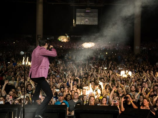 Brandon Flowers performs with the Killers Friday night