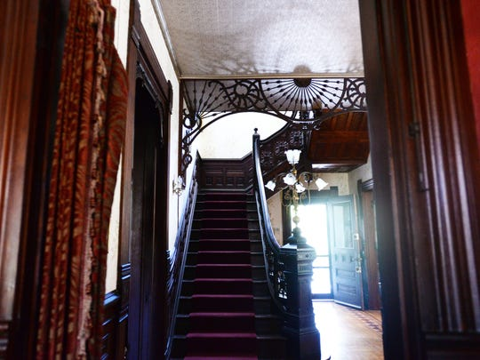 The original wood has been restored to its glory at the Logan Mansion in Shreveport.