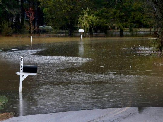 Mt. Herman Road at Bradyville Pike is under water on