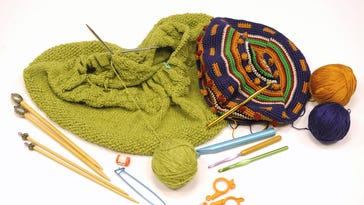 A couple of Jocelynn Brown's knitting and crocheting projects in the making.