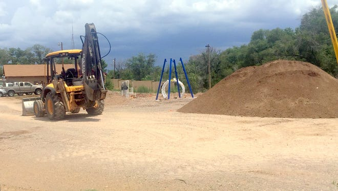 Progress has gone a bit slow to build the 2,400 square foot Splash Park in the Village of Santa Clara. A tentative date of the second week of September has been set for the opening.