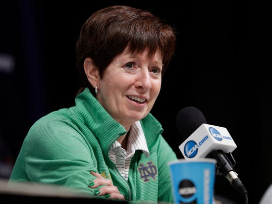 Notre Dame head coach Muffet McGraw responds to a question during a news conference for the women's NCAA Final Four college basketball tournament, Saturday, March 31, 2018, in Columbus, Ohio. Notre Dame faces Mississippi State in the national championship game on Sunday. (AP Photo/Tony Dejak)