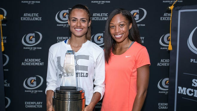 Sydney McLaughlin named Gatorade National Girls Track & Field Athlete of the Year on June 27, 2016 at El Segundo High School in El Segundo, Calif. McLaughlin was surprised with the trophy by U.S. Olympian Allyson Felix.