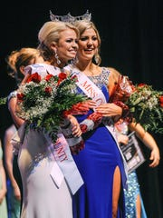 Samatha Rhoden, left, and Tori Alberti are crowned Miss Tulare County and Miss Central Valley 2015 at the LJ Williams Theatre in Visalia on Saturday, February 28, 2015.