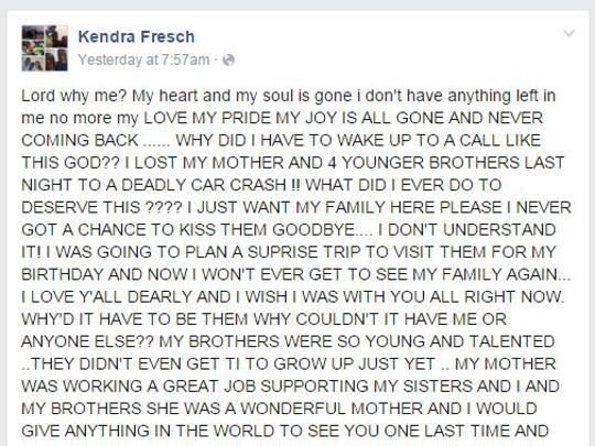 Kendra Fresch, one of Durjuana Miller's daughters, posted a heart-wrenching message on Facebook Thursday after learning of the car crash.