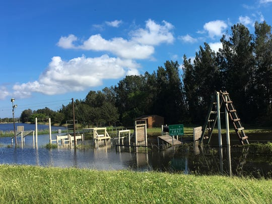 The Brevard County Sheriff's Office obstacle course and gun range were still flooded Sunday, almost a week after heavy rains fell on Brevard County
