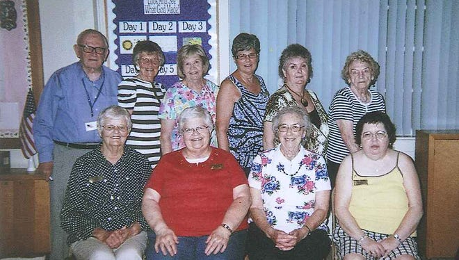 The officers of the Penn Township Lioness Club, front row, from left, are: Elinor Williams, director; Sally Hershey, president; Joyce Barnhart, chaplain; Linda Sterner, secretary/treasurer; back row: Franklin A. Williams, West Manheim Township Lions Club; Elaine Brodbeck, director; Lois Donsen, assistant secretary; Nan Sterner, first vice president/assistant treasurer; Mary Ellen Pennewill, director; Jane Biss, second vice president. Not shown, Bea Farley, tail twister.