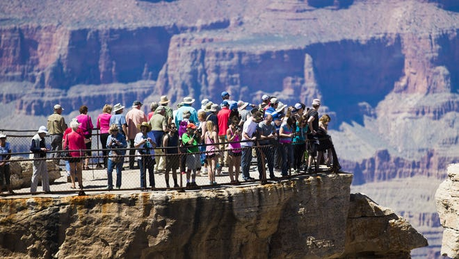 A record 5.96 million people visited Grand Canyon National Park in 2016, short of the 6 million initially estimated.