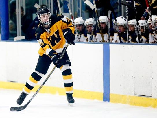 Collin Holz of the Waupun boys hockey team moves the