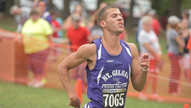 Mount Gilead senior Austin Hallabrin runs to a third-place finish at the Galion Cross Country Festival earlier this fall. Hallabrin will compete Saturday at the MOAC Championships at Harding High School.