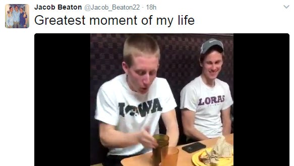 Loras College freshman Jacob Beaton pulled of a remarkable cup trick during dinner on Monday, March 21, 2017.