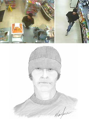 Security camera stills and a sketch show the suspect in an armed robbery at a 7-11 store Thursday.