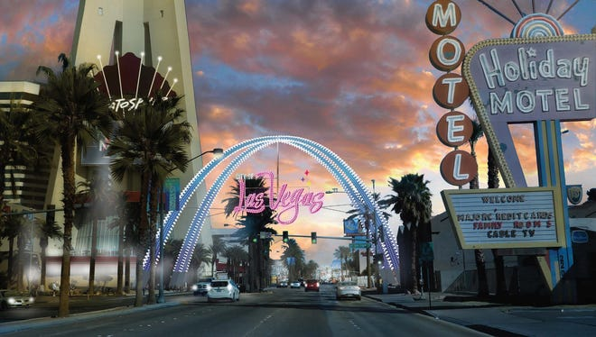 A rendering of the approved design for a Las Vegas Boulevard and Main Street Gateway Arch looking north. The arch would sit in front of the Stratosphere Tower, splitting the difference between The Strip and downtown Las Vegas.