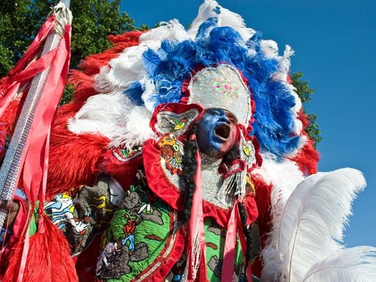 Creole Wild West Spy Boy parades at the Bayou St. John Super in New Orleans, LA. The Mardi Gras Indians will led a parade Jan. 28 and be featured in an art exhibit Jan 27- March 18 at artspace.